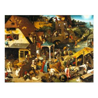 Cartão dos provérbio de Pieter Bruegel Netherlandi Cartão Postal
