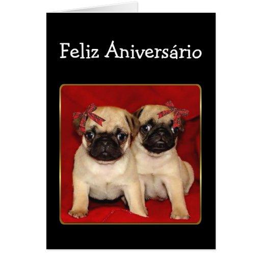 Cartão dos Pugs do aniversário de Feliz Aniversari