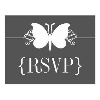 Cartão dos redemoinhos RSVP da borboleta do carvão
