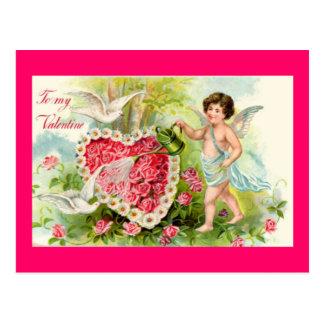 Cartão dos rosas do rosa dos namorados do Cupido