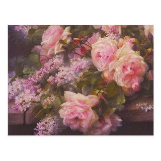 Cartão dos rosas e dos Lilacs do rosa do Victorian