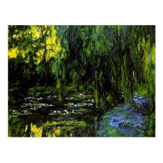 Cartão dos salgueiros Weeping da lagoa do lírio de