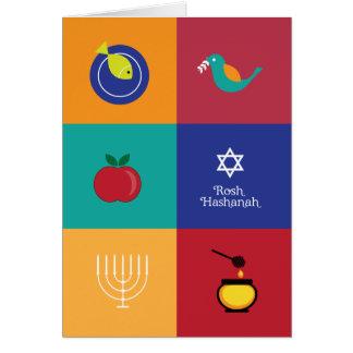 Cartão dos símbolos de Rosh Hashanah
