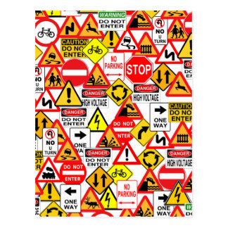 Cartão dos sinais de tráfego