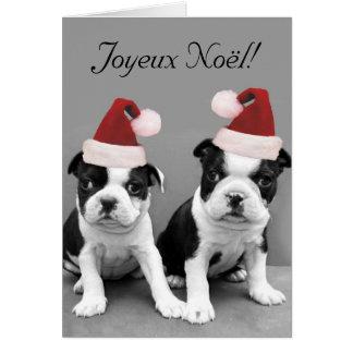 Cartão dos terrier de Joyeux Noël Boston