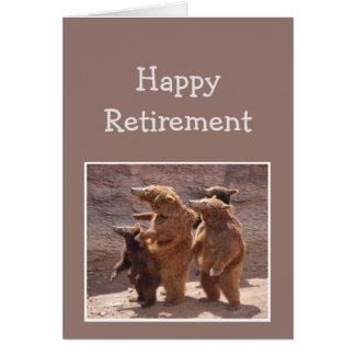 Cartão Dos ursos felizes do divertimento da aposentadoria