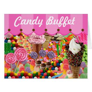 Cartão Dossel da listra do bufete dos doces que Wedding o