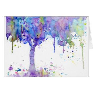 Cartão Dossel de árvore roxo abstrato da aguarela
