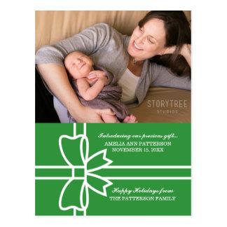 Cartão dotado verde da foto do feriado