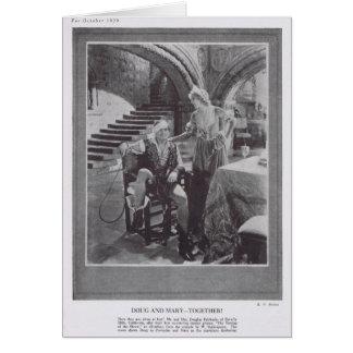 Cartão Douglas Fairbanks Mary Pickford que domestica o