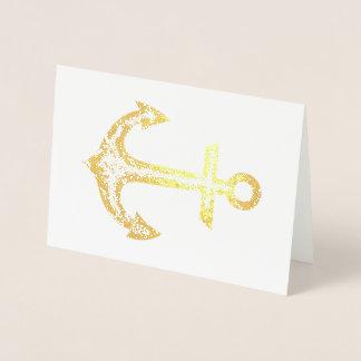 Cartão dourado da âncora