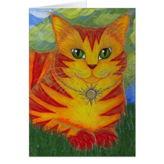 Cartão dourado da arte da fantasia do gato de Sun