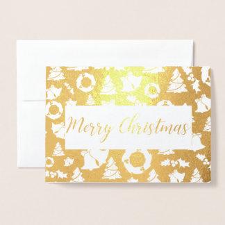 cartão dourado da folha da árvore do Feliz Natal