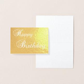 cartão dourado da folha da tipografia do feliz