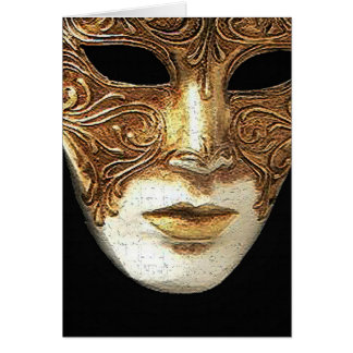 Cartão dourado da máscara