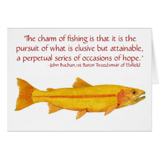 Cartão dourado da truta de arco-íris com dizer