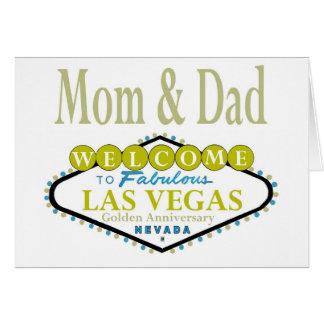 Cartão dourado do aniversário de Las Vegas da mamã