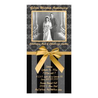 Cartão dourado do aniversário do damasco preto e cartão com foto