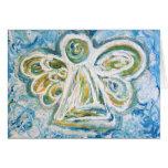 Cartão dourado do anjo azul