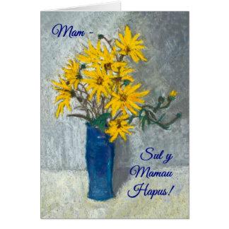 Cartão dourado do dia das mães dos girassóis,