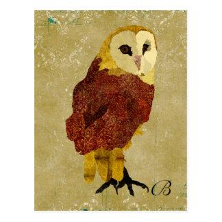 Cartão dourado do monograma da coruja do rubi do v cartao postal
