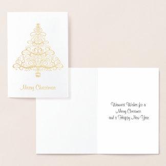 Cartão dourado elegante da árvore de Natal