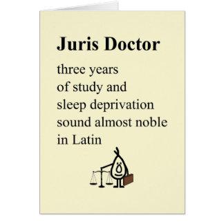 Cartão Doutor de Juris - um poema engraçado da graduação