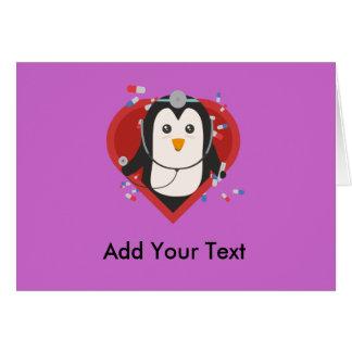 Cartão Doutor do pinguim com coração Zal28