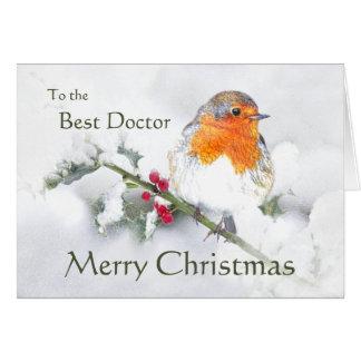 Cartão Doutor Pássaro do pisco de peito vermelho inglês