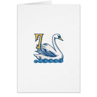 Cartão Doze dias do Natal - um-Natação de sete cisnes