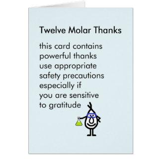 Cartão Doze obrigados do Molar - um obrigado engraçado