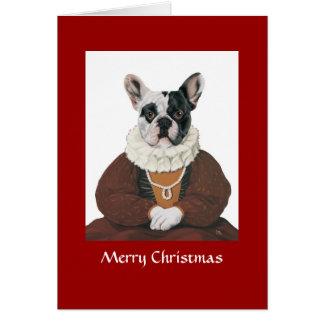 Cartão DR030 buldogue francês, Feliz Natal