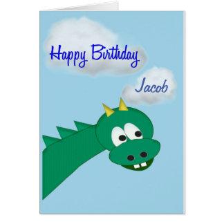Cartão Dragão bonito do aniversário, nome feito sob