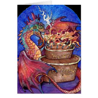 Cartão Dragão do bolo de aniversário
