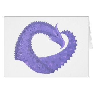 Cartão Dragão do coração da pervinca no branco