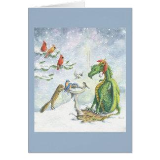 Cartão Dragão do feriado do Birdbath