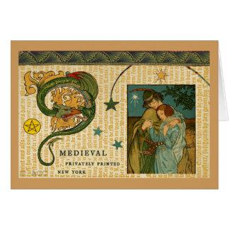 Cartão Dragão e casal medievais