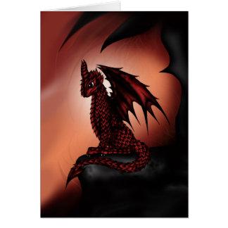 Cartão dragão épico vermelho