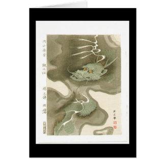 Cartão Dragão japonês que pinta C. 1700's
