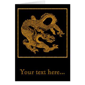 Cartão Dragão oriental dourado 01