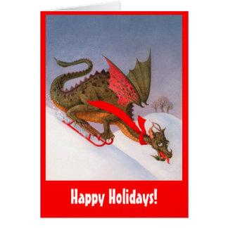 Cartão Dragão Sledding boas festas