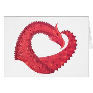 Cartão Dragão vermelho do coração no branco