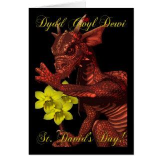 Cartão Dragão vermelho Dydd Gwyl Dewi do dia de Davids da
