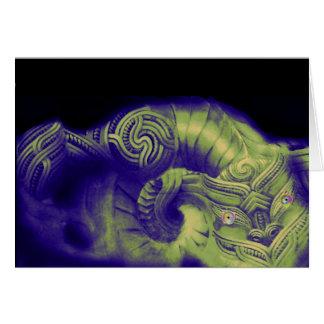 Cartão Dragron (Taniwha) em tons verdes