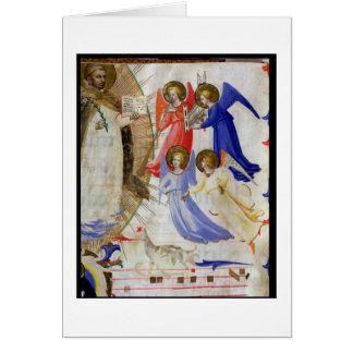 Cartão ds 558 f.67v St Dominic com quatro anjos musicais,