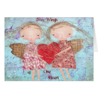 Cartão Duas asas um coração