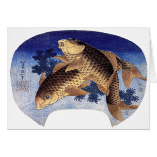 Cartão Duas carpas, Hokusai