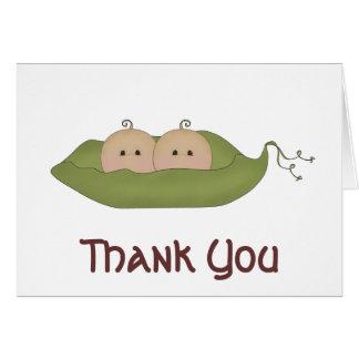 Cartão Duas ervilhas em um obrigado do vagem você