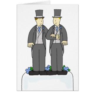 Cartão Duas felicitações do casamento gay dos noivos