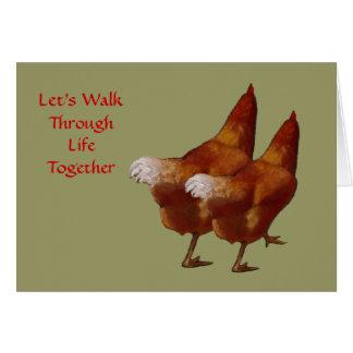 Cartão Duas galinhas de lado a lado: Namorados: Arte